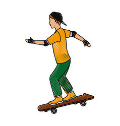 drawing young guy riding a skateboard with cap vector image