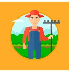 Farmer with rake at cabbage field vector image