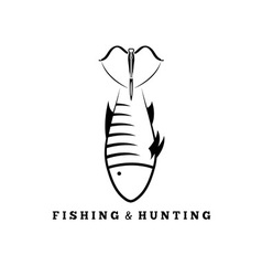 Fishing and hunting concept with fish and crossbow vector