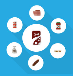 Flat icon food set of beef ketchup tomato and vector