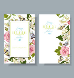 flower butterfly banners vector image