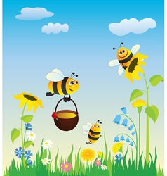Flowering meadow and bees vector