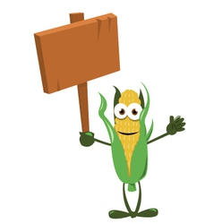 Funny Corn with Wooden Sign vector image vector image