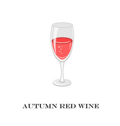 Glass of red wine autumn time vector