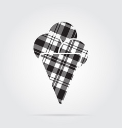 Grayscale tartan icon ice cream with three scoops vector
