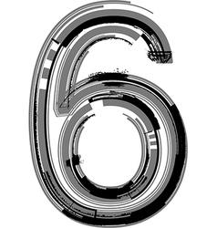 Grunge font number 6 vector
