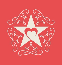 Happy valentines day Card with ornaments heart and vector image