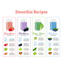 Healthy smoothie recipes - berries detox milk vector