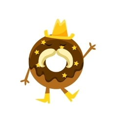 Humanized doughnut with chocolate glazing cowboy vector