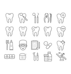 Icons of tooth dental equipment vector
