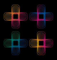 Isolated abstract colorful neon cross logo set on vector