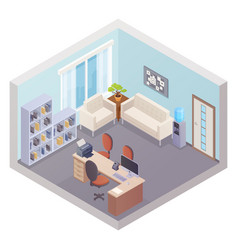 isometric office interior with boss workplace vector image vector image