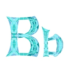 Low poly letter b in blue mosaic polygon vector