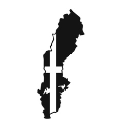 Map of sweden icon simple style vector