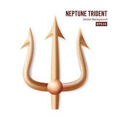 neptune trident bronze realistic 3d vector image