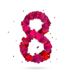 Number eight 8 made from red hearts love alphabet vector
