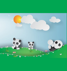 paper art of pandas playing in the vector image vector image