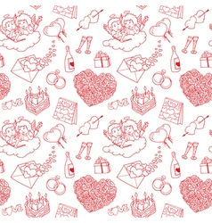 Pattern with valentines doodles vector