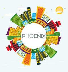 phoenix skyline with color buildings blue sky and vector image vector image