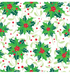 red green holly berry bunches and vector image vector image
