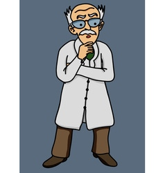 Scientist old man disgruntled comic vector image
