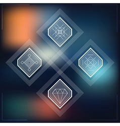 Set of geometric hipster shapes blur vector