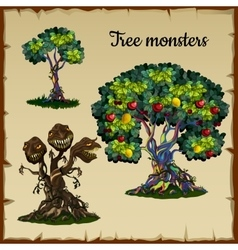 Set of trees and tree monster with dragon heads vector