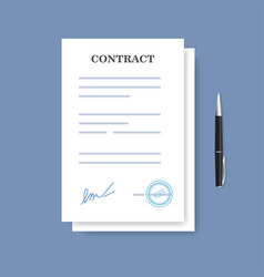 signed paper deal contract icon agreement and pen vector image