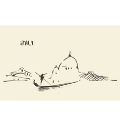 Sketch venice italy man with gondola vector