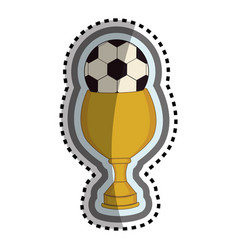Trophy winner with balloon soccer isolated icon vector