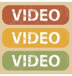 Vintage video stamp set vector