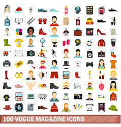 100 vogue magazine icons set flat style vector