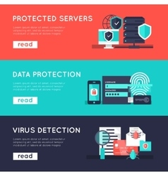 Data protection horizontal banners set vector