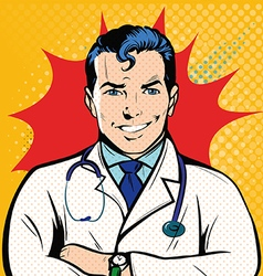 Smile doctor into pop art retro style vector