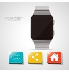 Smart watch and media app design vector