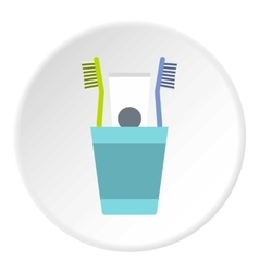 Cup with toothbrushes and toothpaste icon vector