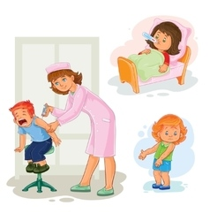 Set icons little girl sick vector