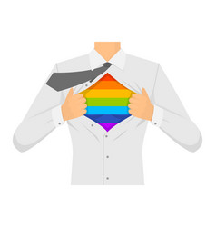 man ripping the shirt lgbt sign vector image