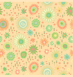 seamless doodle floral kids pattern vector image
