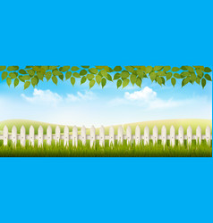 beautiful summer countryside landscape background vector image