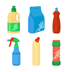 Home cleaning essentials set of laundry detergent vector