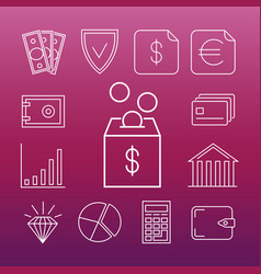 safe money line art icons vector image