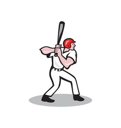 Baseball player batting side cartoon vector