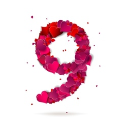 Number nine 9 made from red hearts Love alphabet vector image