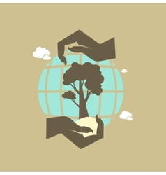 hands hold the earth and tree icon vector image