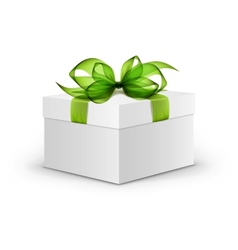 White Square Gift Box with Green Ribbon and Bow vector image