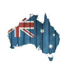 Australian map with wooden flag vector