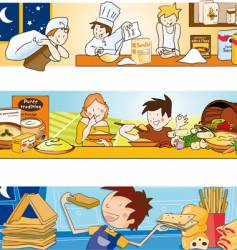 Children and food illustration vector