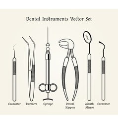 Vintage dentist tools medical equipment in retro vector