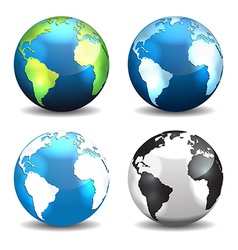 Set of earth globe icons different color vector